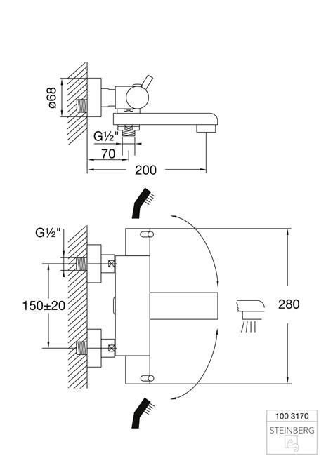 Steinberg Serie 100 Wanne/Brause-AP-Thermostat 1/2