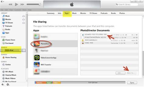 file sharing section of itunes itunes file sharing section