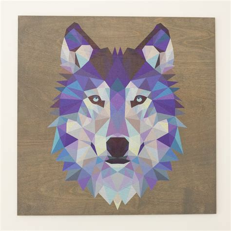 reclaimed print co we print on wood geometric wolf