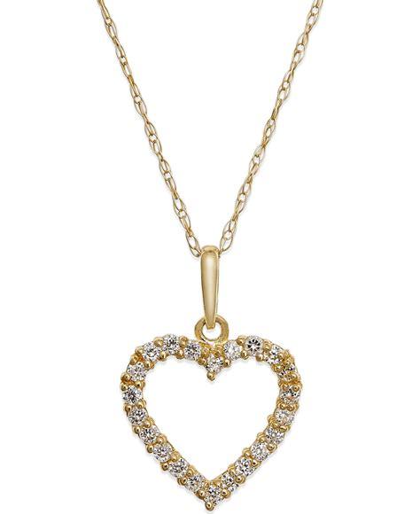 macy s cubic zirconia pendant necklace in 10k gold