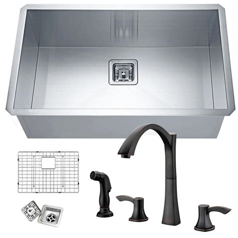 oiled bronze faucet with stainless steel anzzi vanguard undermount stainless steel 30 in single
