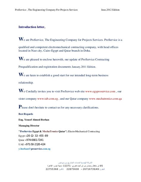 Introduction Letter Housekeeping Company Proservice Profile June 2012