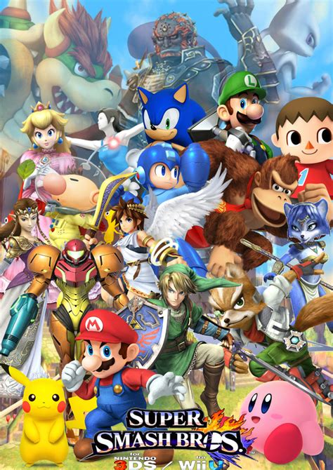 Smash Bros 3ds smash bros wii u 3ds cover by supersaiyancrash smash bros wii u