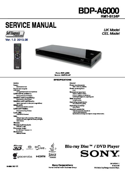 Sony Bdp A6000 Service Manual Free Download