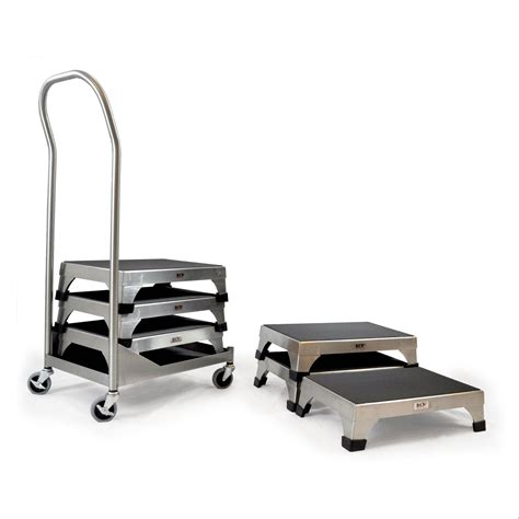stainless steel stacking step stool by mid central stacking step stool cart marketlab inc