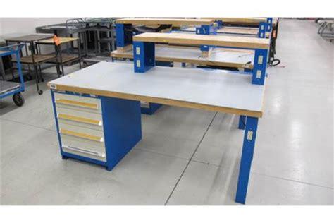 work bench power strip 4 drawer stanley vidmar tool box work bench w power strips