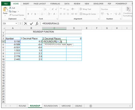how to use excel roundup rounddown mround