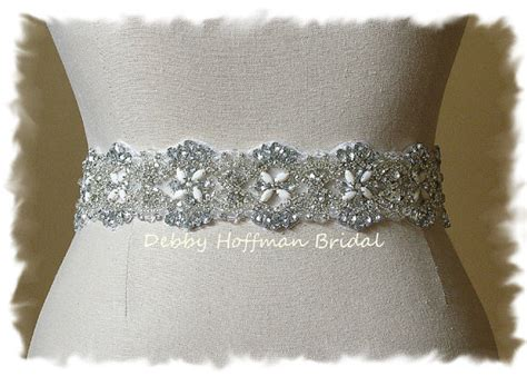 vintage inspired rhinestone beaded bridal sash