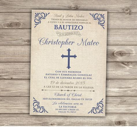 templates for baptism invitations in spanish spanish printable baptism christening invitations burlap cross