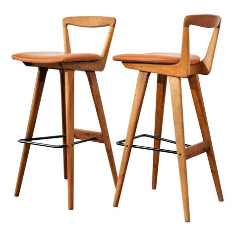 danish bar stools pair of bar stools by henry rosengren hansen at 1stdibs