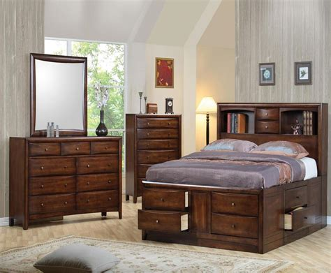bedroom set with storage 5 pc california king bookcase storage bed ns dresser chest