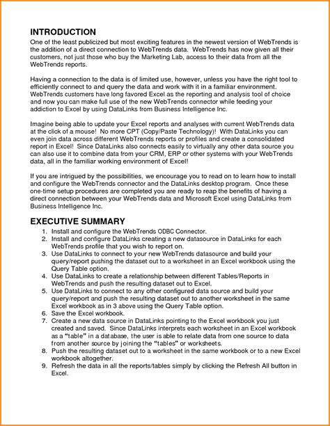 9 executive summary template apa format financial