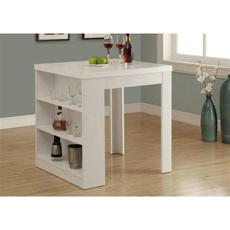 monarch specialties counter height dining table white storage pub bar table i 1345 the home depot