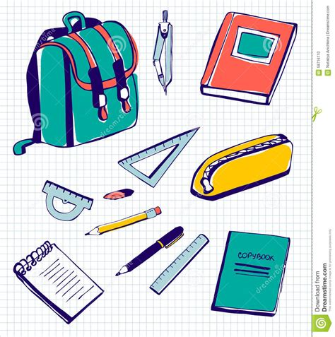 school supplies illustration inspiration pinterest vector set school supplies stock illustration image of