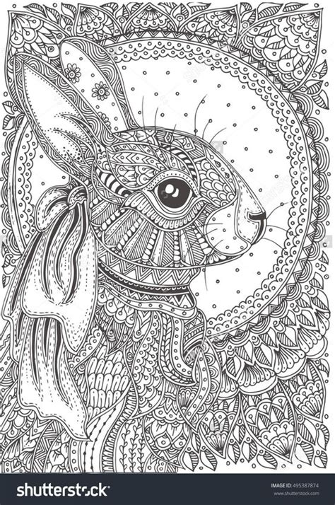 doodle pattern animals rabbit zentangle animal coloring pages for adults