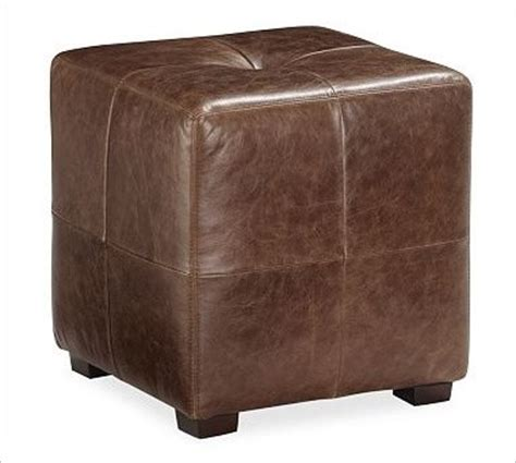 Sullivan Leather Ottoman Sullivan Leather Cube Saddle Brown Traditional Footstools And Ottomans By Pottery Barn