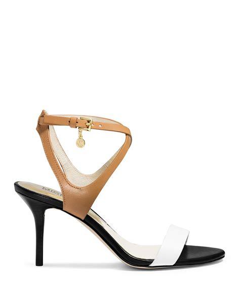 michael kors heel sandals lyst michael michael kors strappy sandals mid