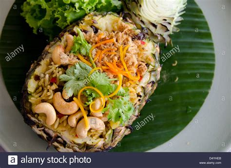 Rainbow Coconut Import Bangkok thailand bangkok typical thai food curried rice with pineapple stock photo royalty free