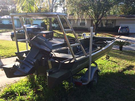 jon boat with poling platform 1648 alumacraft 25hp yamaha 4500 with push pole and