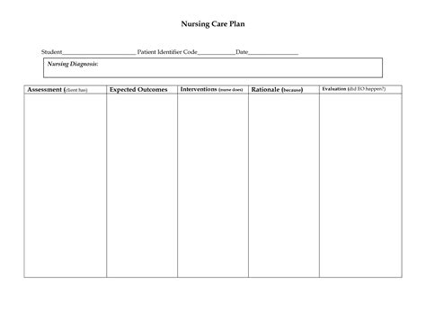 nursing care plan format template best photos of nursing care plan template sle sle