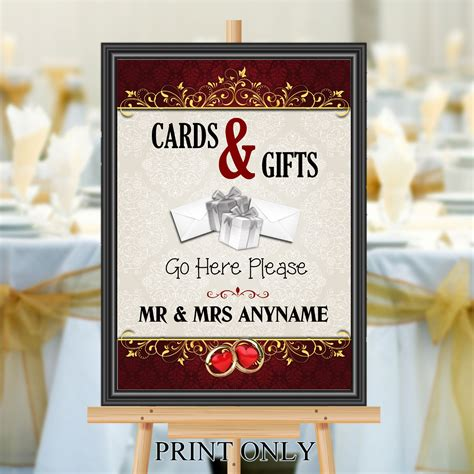 Cards And Gifts Banner - personalised wedding cards gifts sign poster banner print n201
