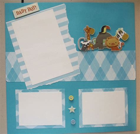 Handmade Scrapbook Pages - baby boy scrapbook page premade by swakscrappin on etsy