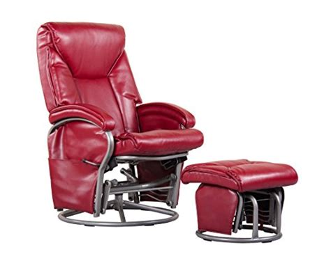 faux leather glider recliner with ottoman shermag swivel glider recliner and ottoman red bonded