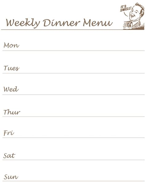 monthly dinner menu template weekly menu planner diy