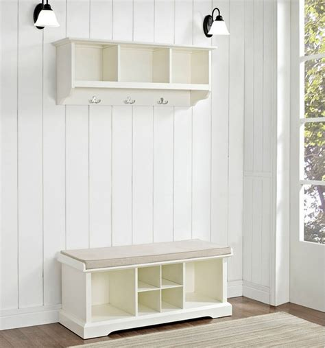 modern hall tree storage bench white minimalist 2 piece hall tree set includes bench