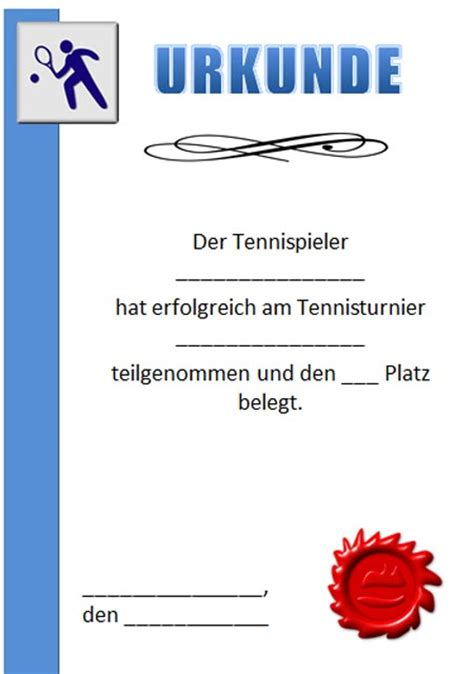 Word Vorlage Urkunde Sport Urkundenvorlagen Tennis Zum Ausdrucken