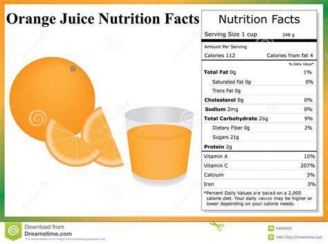 carbohydrates orange juice orange juice nutrition facts stock vector image 54846031