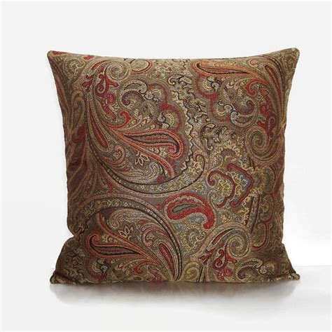 paisley sofa pillows sale brown paisley pillow cover bronze rust orange