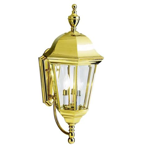 polished brass outdoor lighting kichler outdoor wall light with clear glass in polished