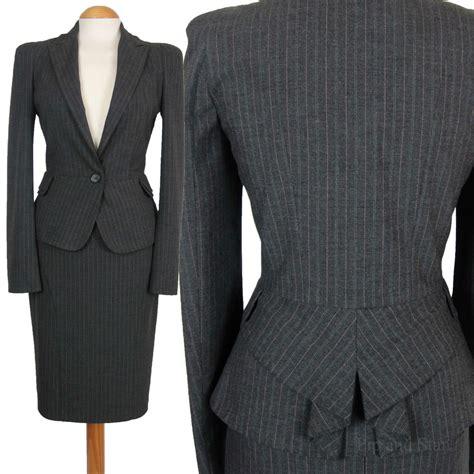 uk12 14 us8 10 warehouse grey pinstripe pencil skirt suit