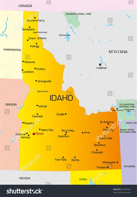map of usa idaho vector color map idaho state usa stock vector 25975429