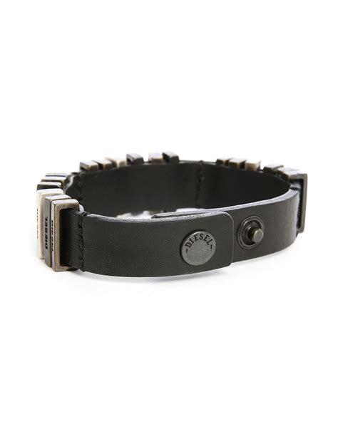 Diesel Bracelet diesel aggaby leather bracelet in black for lyst