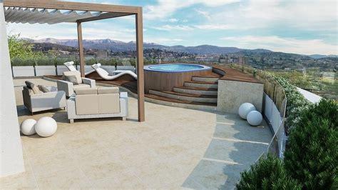 piscina in terrazza studio sagitair architettura interior design render
