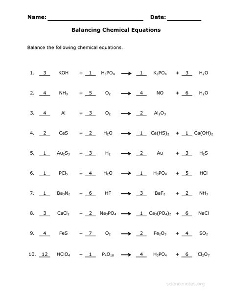 Balancing Chemical Equations Worksheet 1 Answers by How To Balance Equations Printable Worksheets