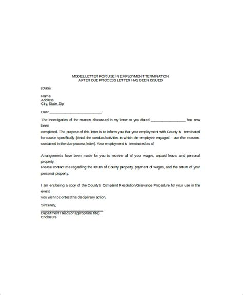 Employee Termination Letter Template by 11 Termination Letter Templates Free Sle Exle