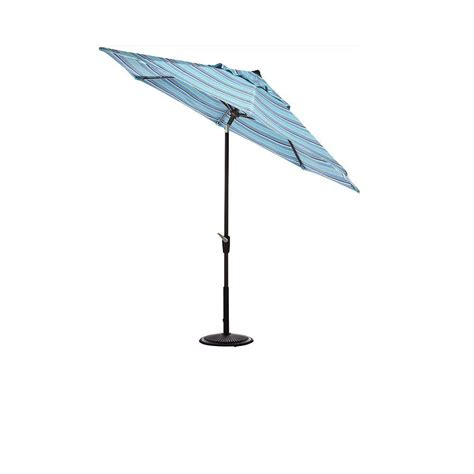 Aluminum Patio Umbrella Garden 10 Ft Aluminum Patio Umbrella With Auto Tilt In Blue M150002 The Home Depot