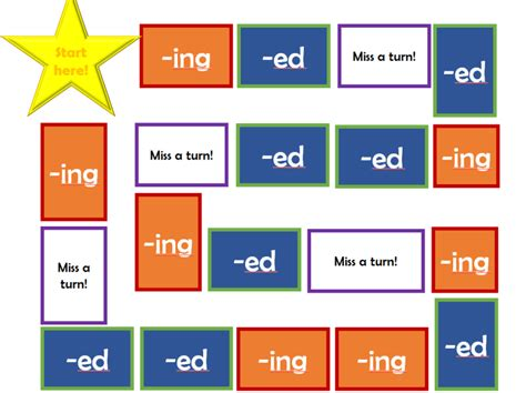 printable suffix games spag ing and ed suffix board game gaming phonics and