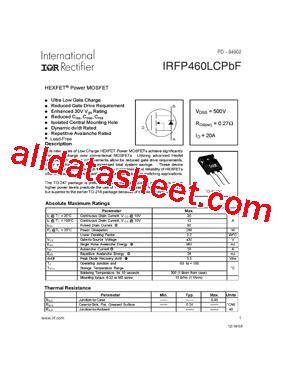 harga transistor irf 460 irfp460lcpbf 데이터시트 pdf international rectifier