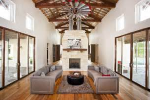 Barn Ceiling Fan Inspiring Urban Farmhouse With Exposed Timber Trusses