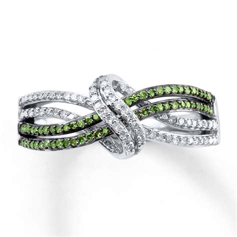 green ring 1 4 ct tw cut sterling silver