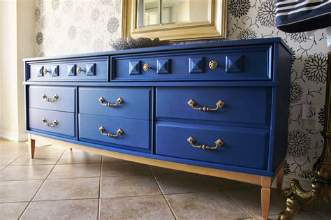 Sticky Dresser Drawers by Re Tiqued By Bond Blue And Gold Dresser With Sticky