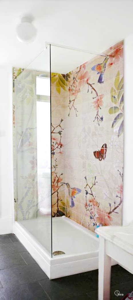 floral bathroom tiles butterflies and flower on the shower tile a interior design