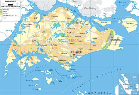 map of singapore physical map of singapore ezilon maps
