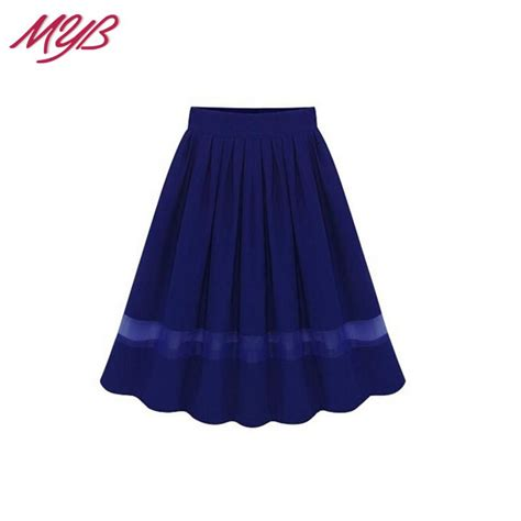 Midi Flare Skirt Pastel Limited new 2015 summer high waist chiffon contrast sheer mesh pleated swing flared midi skirt