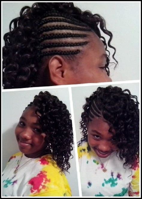 cornrows on side sew in in back corn row braids on side with sew in curly hair new hair
