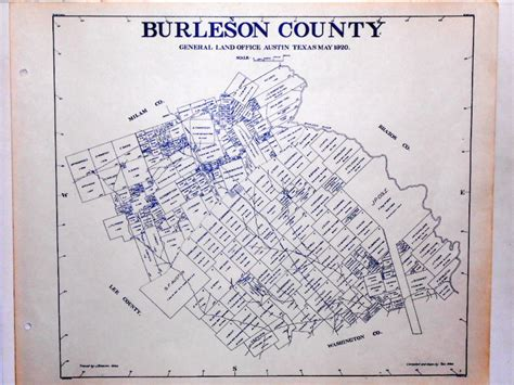 texas land office maps burleson county texas land office owner map caldwell somerville lyons snook ebay